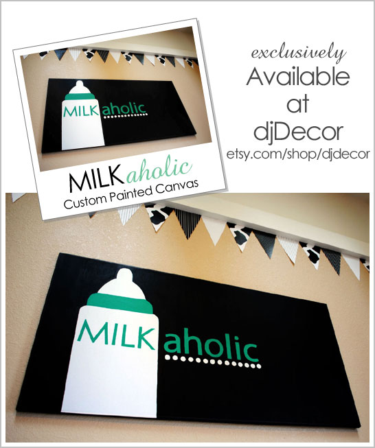 Milkaholic Painted Canvas, available at djDecor