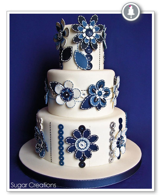 MOD Blue Flower Wedding Cake by Sugar Creations