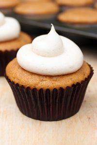 Pumpkin Cupcakes with Cinnamon Cream Cheese | TheCakeBlog.com