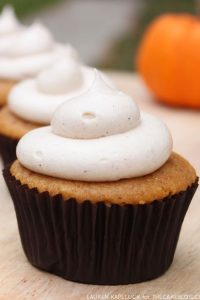 Pumpkin cupcakes with cinnamon cream cheese frosting  |  Recipe by Lauren Kapeluck  |  TheCakeBlog.com