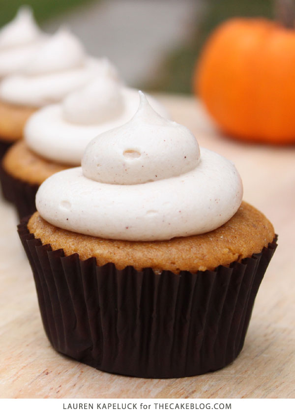 Easy Pumpkin Cupcakes with Cream Cheese Frosting | by Lauren Kapeluck for TheCakeBlog.com