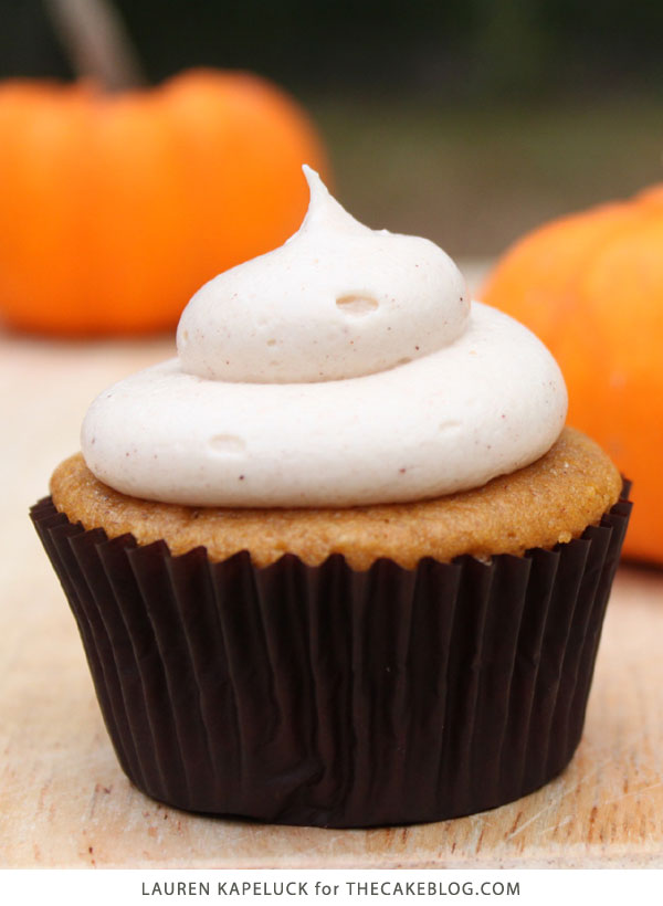 Pumpkin Cupcakes with Cream Cheese Frosting | by Lauren Kapeluck for TheCakeBlog.com