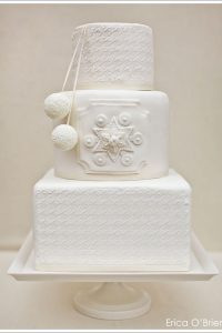 Snowy White Winter Wedding Cake