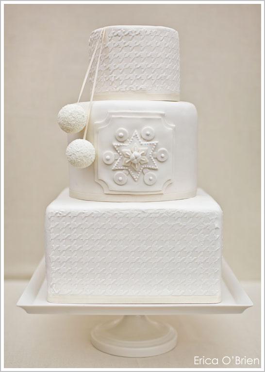 Snowy White Winter Wedding Cake
