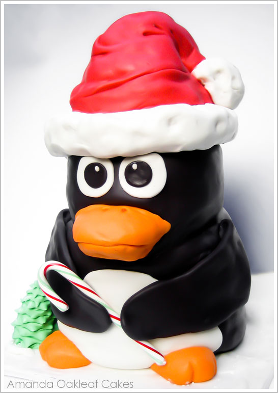 Penguin Christmas Cake by Amanda Oakleaf