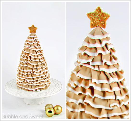 Ruffle Christmas Tree Cake