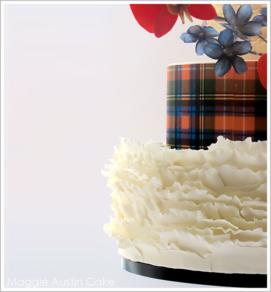 Ruffles and Plaid Christmas Cake by Maggie Austin