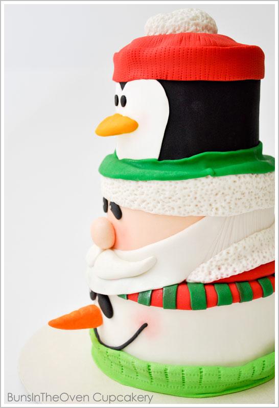 santa penguin snowman cake