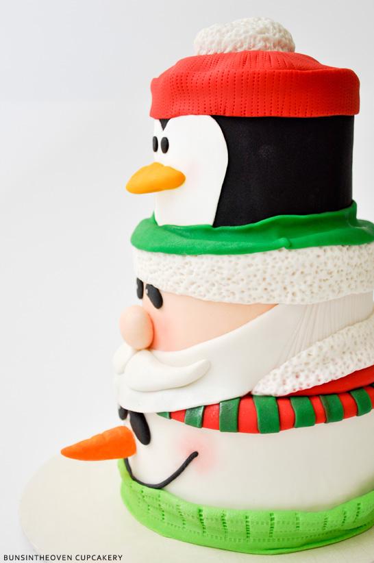 Santa, Penguin, Snowman Cake by BunsInTheOven Cupcakery