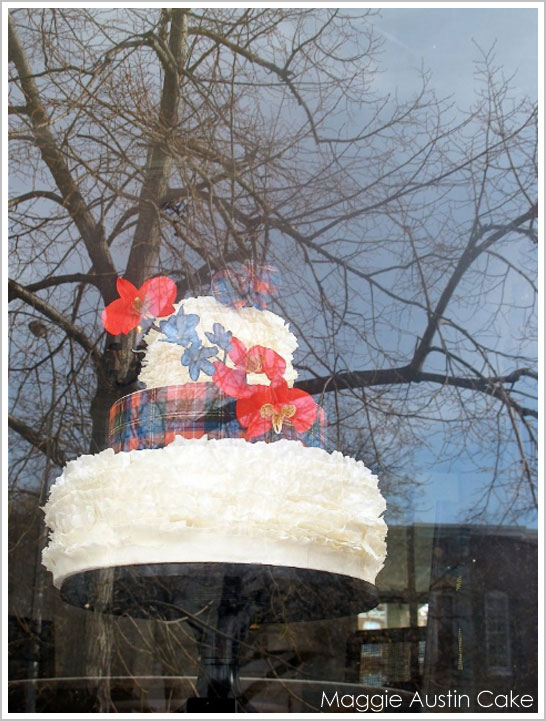 Scottish Plaid and Ruffles Christmas Cake by Maggie Austin