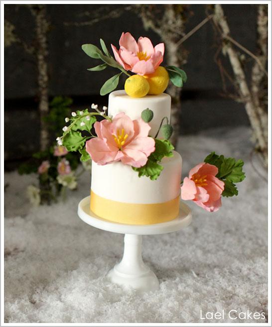 Modern Wedding Cakes: Elegant Modern Sugar Flower Wedding Cake Idea Pictures