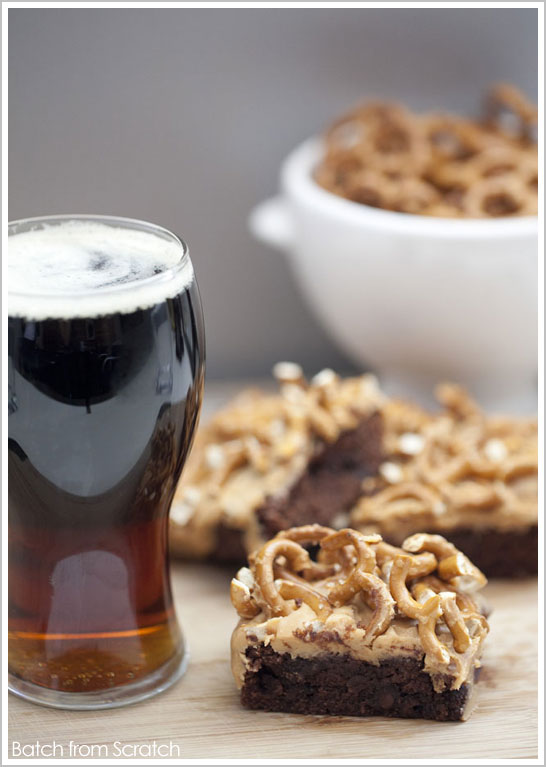 Black & Tan Beer and Pretzel Brownies