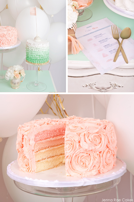 Mint & Peach Dessert Table by Jenna Rae Cakes | TheCakeBlog.com