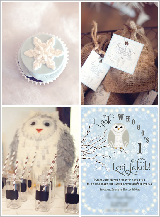 Snow Owl First Birthday Party by Fondant Flinger