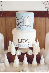 Snow Owl First Birthday Cake by Fondant Flinger