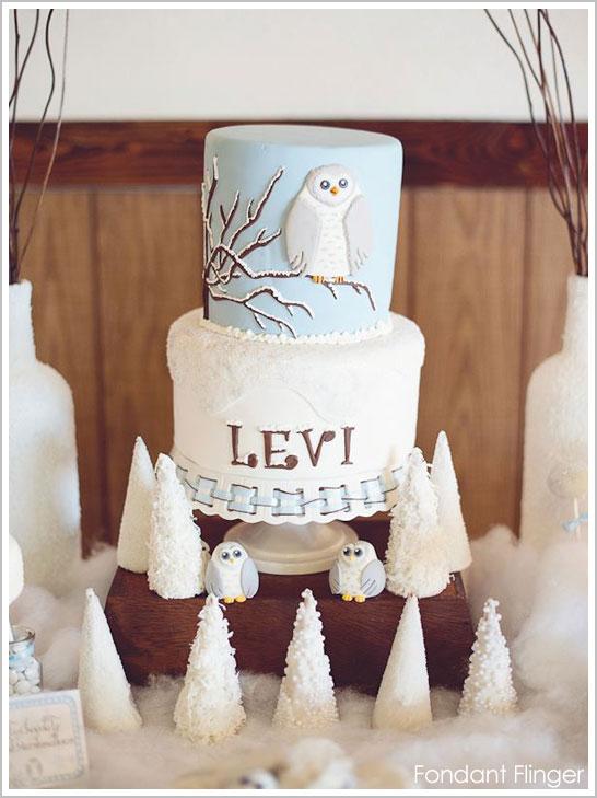 Snow Owl First Birthday Cake by Fondant Flinger
