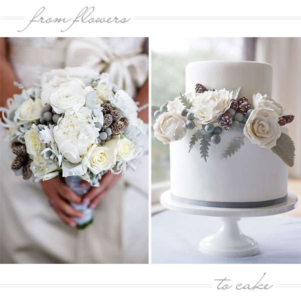 Winter White Floral Wedding Cake   by Erica O'Brien