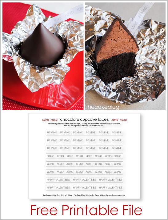 Free Printable for XOXO Chocolate Cupcakes