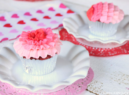 Ombre Ruffle Cupcakes | by Lauren Kapeluck for TheCakeBlog.com