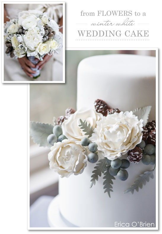 Winter White Floral Wedding Cake