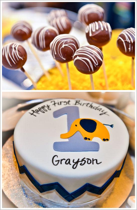 Chevron & Elephant First Birthday Party