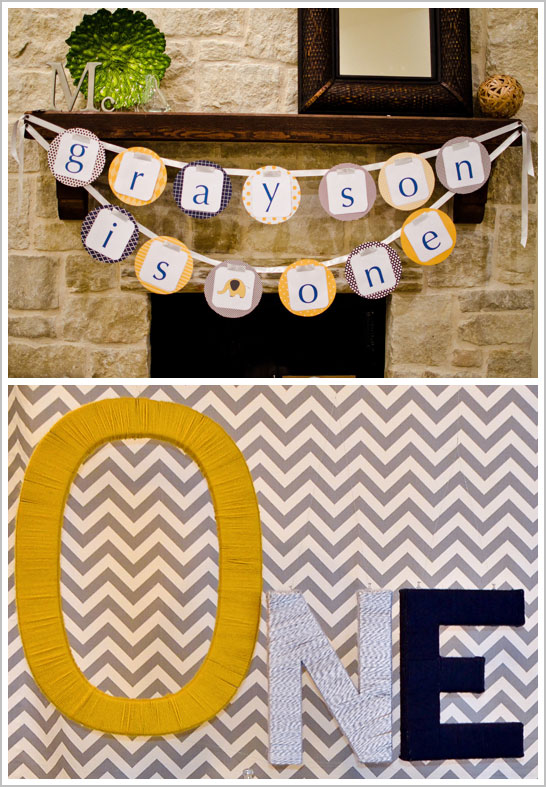 Chevron & Elephant First Birthday Party
