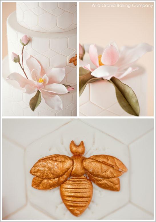 Honeycomb & Golden Bee Wedding Cake