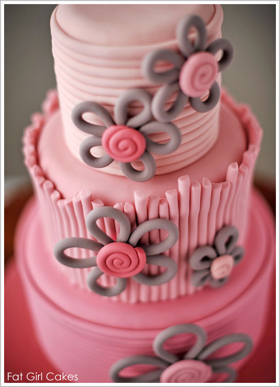 Pink Ombre Cake with Modern Flowers