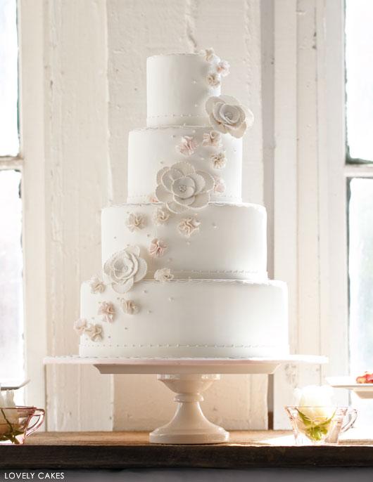 Romantic Blush Wedding Cake   by Lovely Cakes