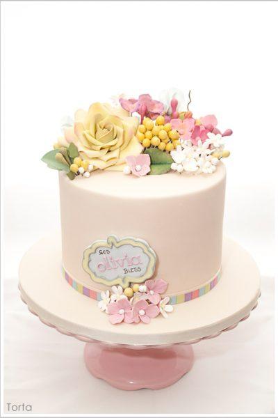 Precious Petals Baptism Cake