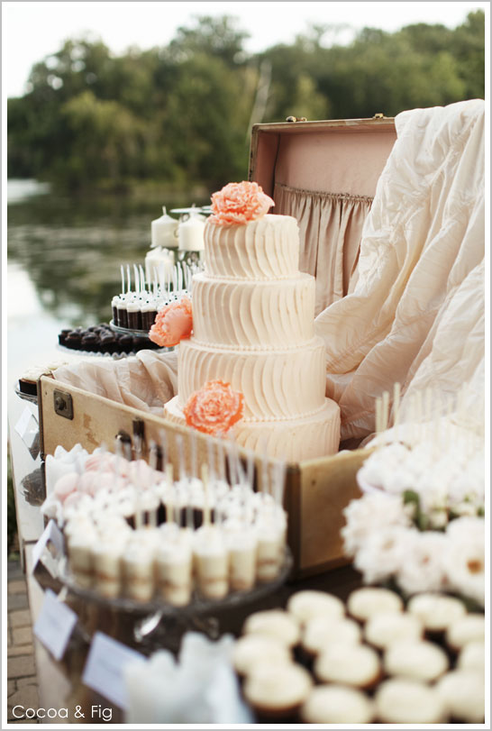 Rustic Chic Pale Pink & Peach Wedding Cake