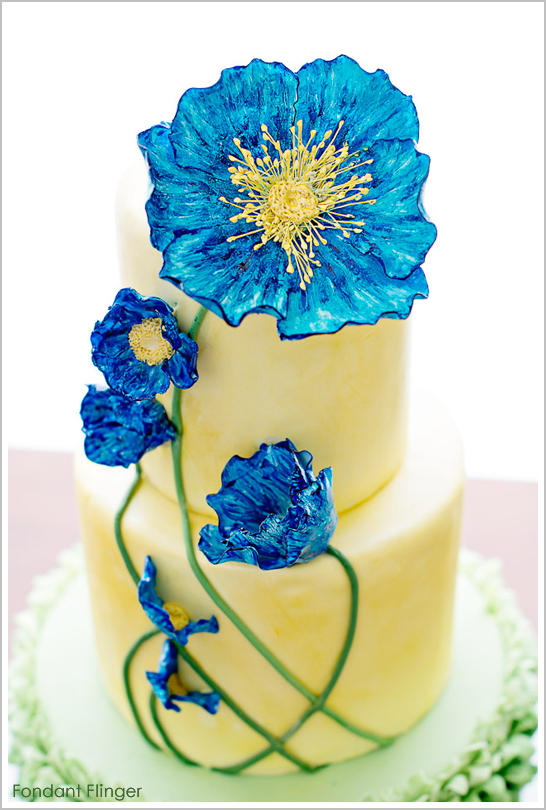 Blue poppy flowers cake mightylinksfo