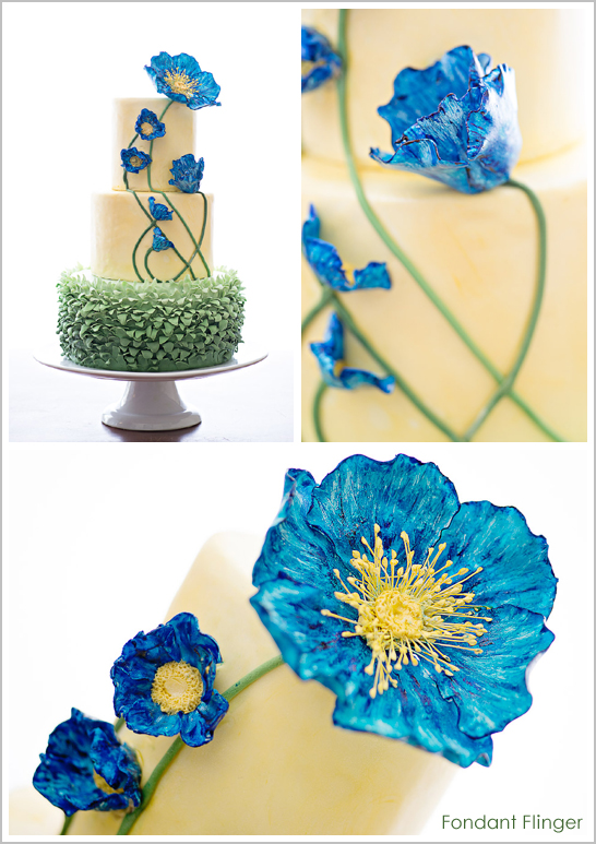 Blue Poppy Flowers Cake