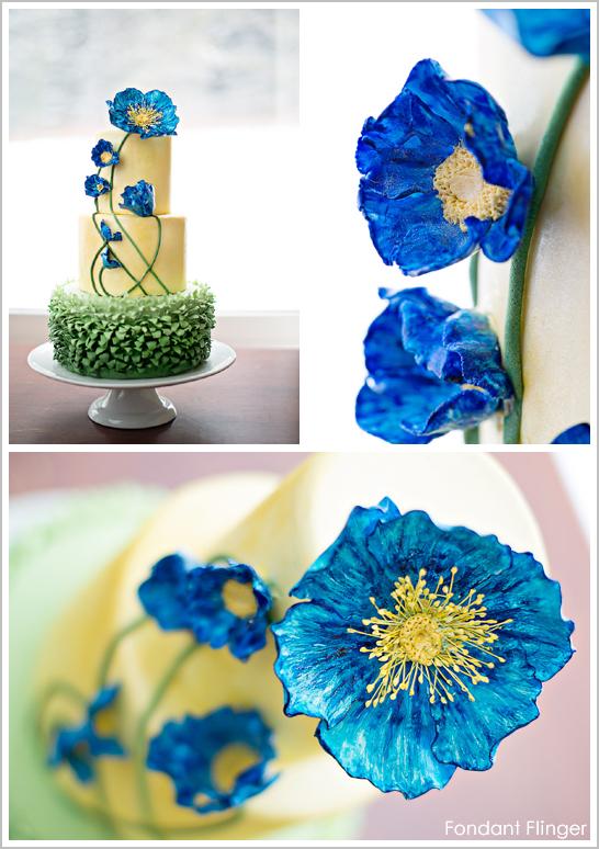 Blue Poppy Flowers Cake