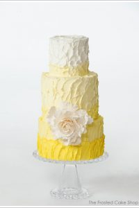 Rustic Ombre Yellow Buttercream Cake
