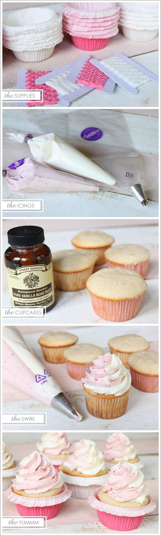 Strawberry & Vanilla Cream Swirl Cupcakes
