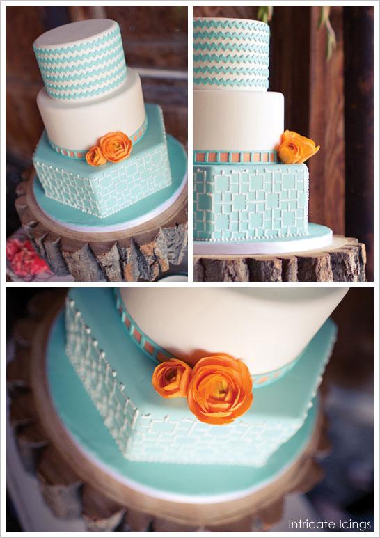 Tangerine & Turquoise Chevron Cake