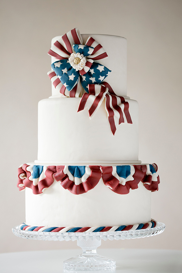 Vintage American Patriotic Bunting Cake | by Erin Gardner for TheCakeBlog.com