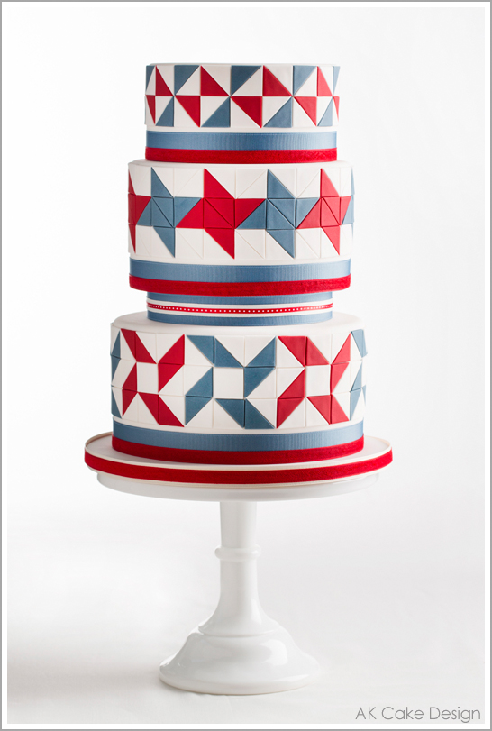 Americana Quilt Cake by AK Cake Design | TheCakeBlog.com