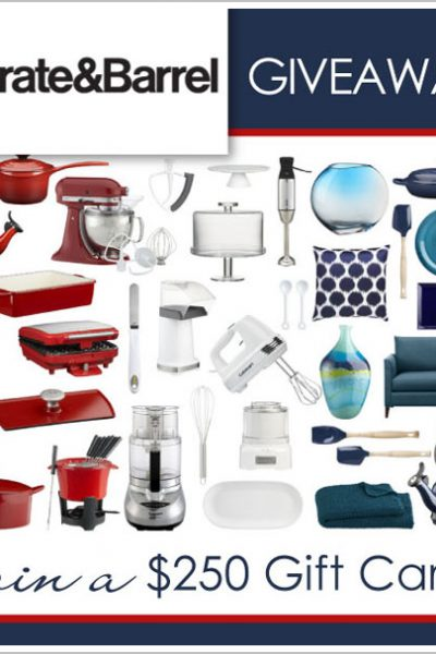 Giveaway:  $250 Crate & Barrel Gift Card