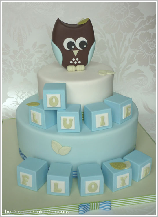 Owl & Blocks : Baby Shower Cake