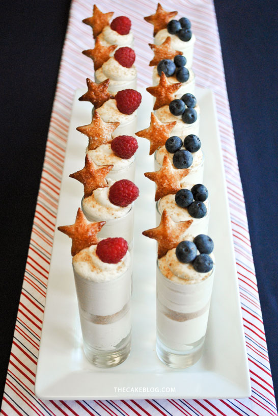 Patriotic Cheesecake Shots for July 4th   by Carrie Sellman for TheCakeBlog.com