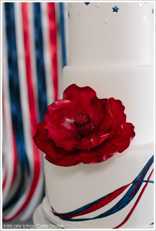 Red, White & Blue Ribbons by Intricate Icings | TheCakeBlog.com