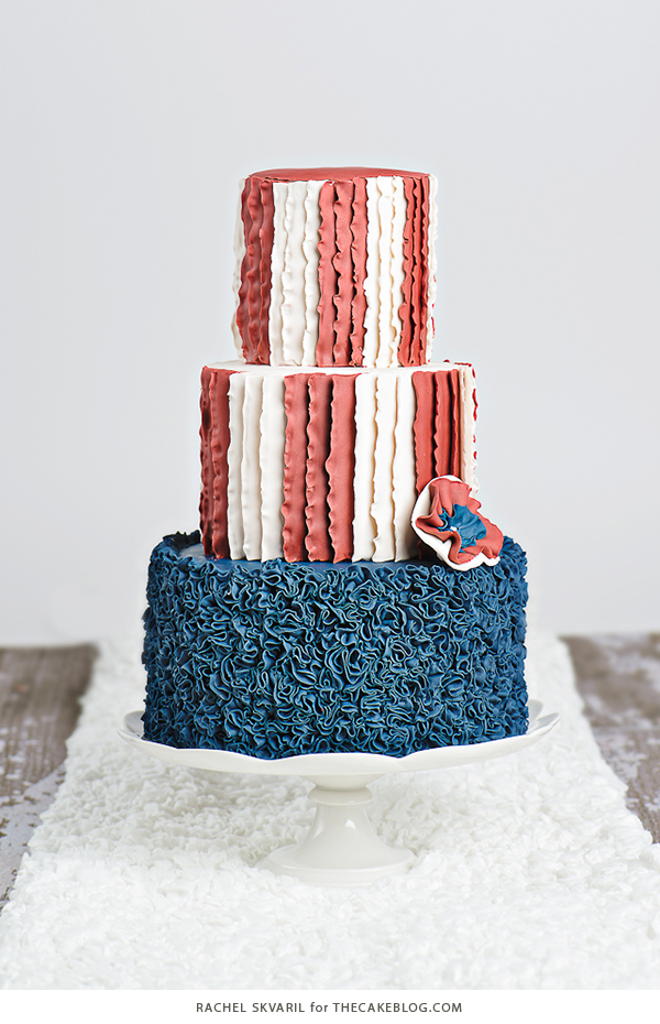 Ruffled American Flag Cake | by Rachel Skvaril for TheCakeBlog.com
