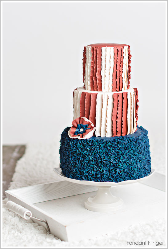 Ruffled Flag Cake by Fondant Flinger | The Cake Blog