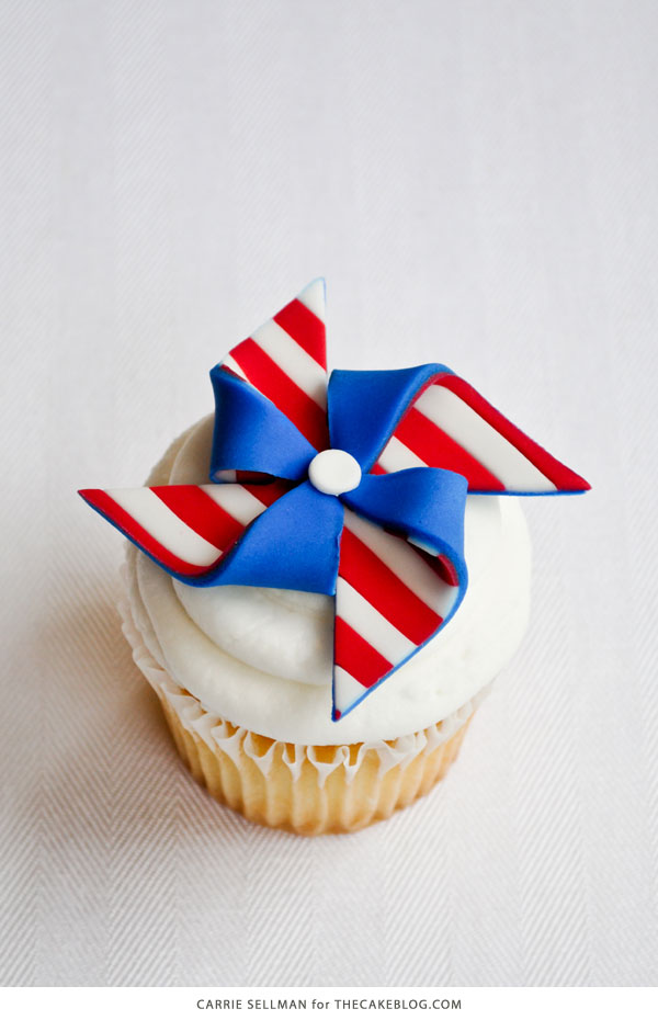 DIY Patriotic Pinwheel Cupcakes in Red, White & Blue | by Carrie Sellman for TheCakeBlog.com