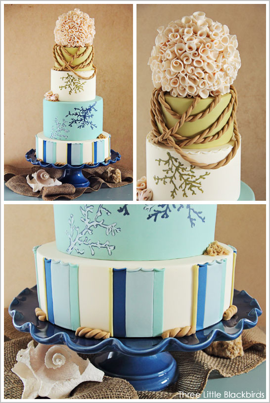 Beach Wedding Cake by Three Little Blackbirds  |  TheCakeBlog.com