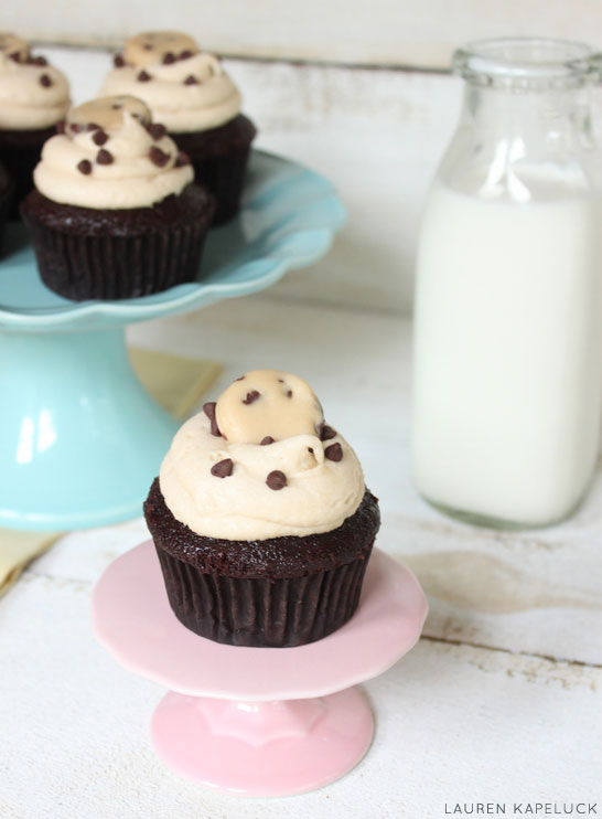 Triple Cookie Dough Cupcakes | by Lauren Kapeluck for TheCakeBlog.com