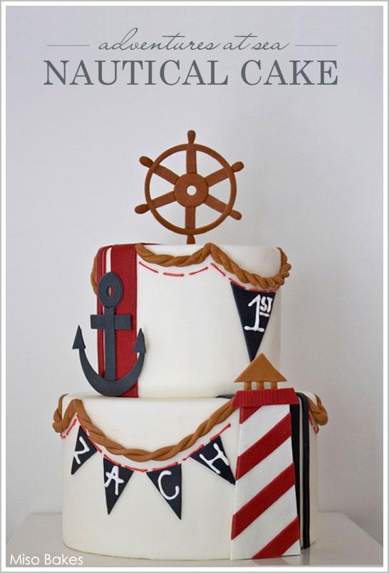 Nautical Beach Cake by Miso Bakes | TheCakeBlog.com
