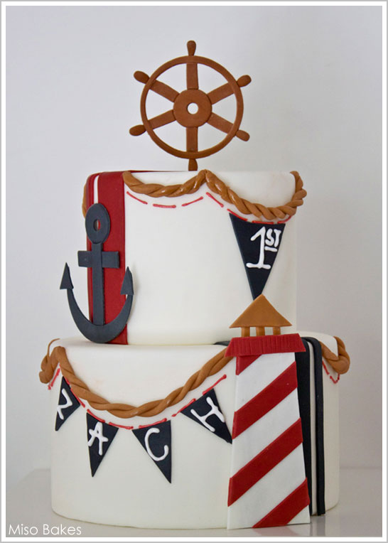 Nautical Beach Cake by Miso Bakes  |  TheCakeBlog.com
